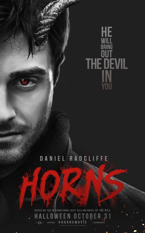 """Daniel Radcliffe, who has legions of young fans due to his role as Harry Potter is now promoting the movie Horns. This poster features One Eye, devil horns and an inverted cross saying """"He will bring out the devil in you"""". That is pretty much was most of the industry is about."""