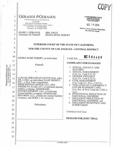 The first page of a lengthy, 24-pages long lawsuit.