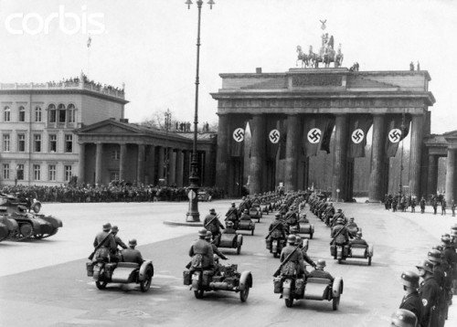 Nazi parade under Brandenburg Gate, 1930.