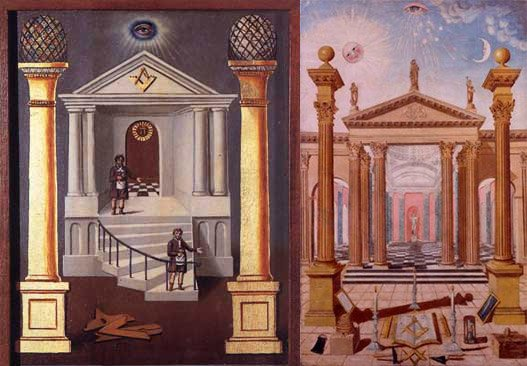 Here are two Masonic paintings that feature Masonic entrances. Both of these images are topped by an All-Seeing Eye.