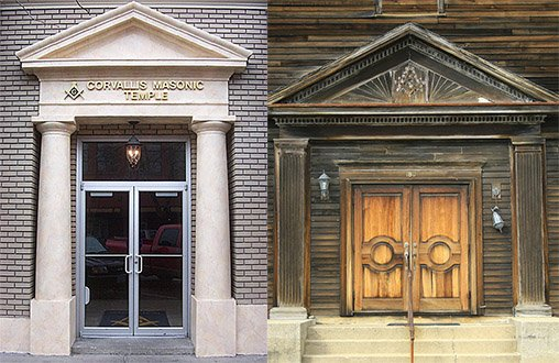 The entrances of two actual Masonic lodges.