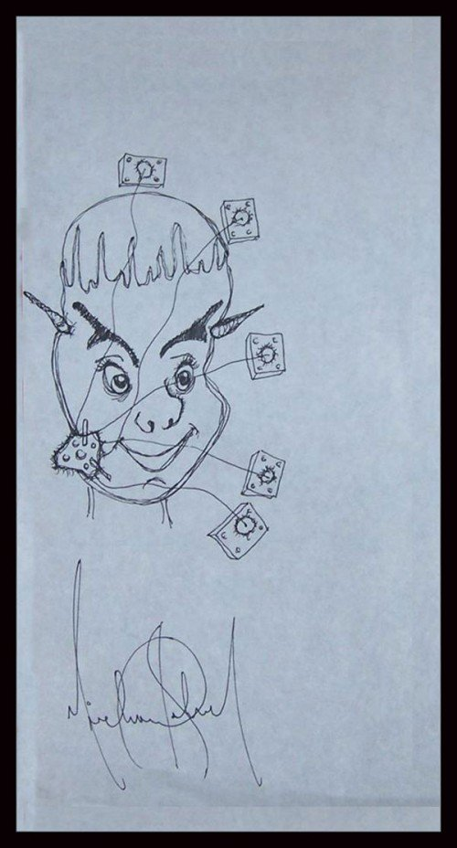 This drawing depicts a face that resembles MJ's on which are attached several wires connected to little boxes that look like interrupters. Is this a reference to electroshock? Also, there appears to be small horns growing from his head.