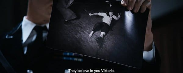 Later in the video, a Gestapo police guy shows Viktoria the picture of a guy who cut his leg off to be like Viktoria ... Really?