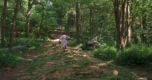 Although Dorothy - and the viewers - are lead to believe that the Yellow Brick Road is the road to a land of wonders, it is actually the path the handler has laid out in the slave's inner-world to follow.