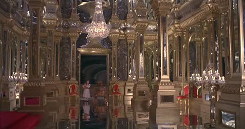 The entire castle is plastered with mirrors - even the floor.