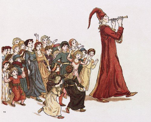 "The Pied Piper leads the children out of Hamelin. Illustration by Kate Greenaway for Robert Browning's ""The Pied Piper of Hamelin"""
