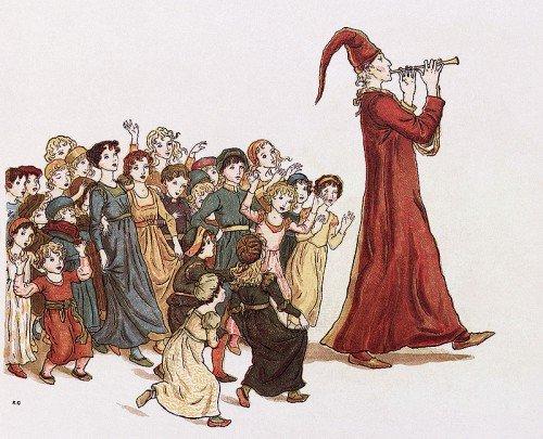 """Le Pied Piper conduit les enfants de Hamelin.  Illustration par Kate Greenaway pour Robert Browning """"Le joueur de flûte de Hamelin"""""""