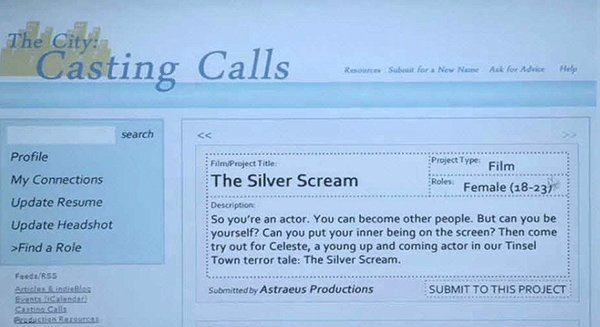 "The casting call is for a movie called The Silver Scream. Throughout the movie, the production company insist on the actress ""being her true self"", which is her being a struggling actress who is ready for anything to become a star. Anything."
