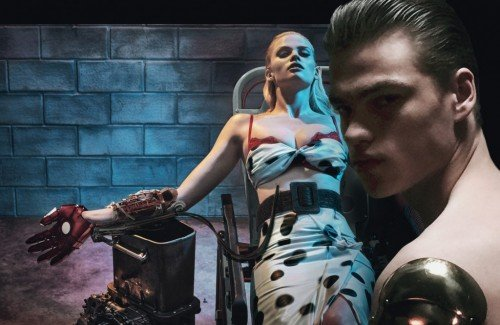 After V Magazine, Steven Klein did a photoshoot for W magazine (one letter named for magazines is so edgy). This one is about dehumanization and the promotion of transhumanism using strange, sexual images.