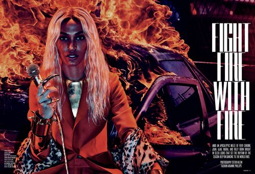 "Steven Klein is a photographer/director who worked with stars such as Britney Spears, Madonna and Lady Gaga (he directed the Illuminati-symbolism laden video ""Alejandro"") so you know he is all about the ""Agenda"". This photoshoot for V magazine uses Black models on a fiery backdrop reminiscent of Ferguson protests to sell clothes. Once again, the ""fashion"" world is about exploiting pain and making it fashionable."