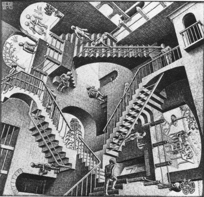 "The above scene is clearly inspired by Escher's drawing ""Relativity""."
