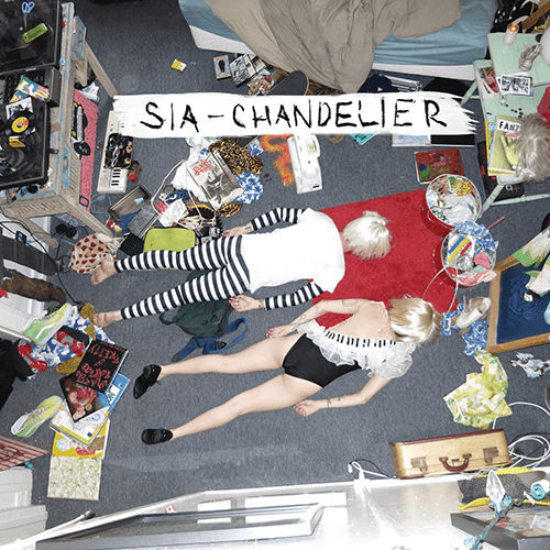 "The cover of the single Chandelier features two lifeless, mannequin-like girls lying face down wearing the same wig, which implies split personality. The one on top wears a dualistic stripped pattern used to program MK slaves while the one on the bottom wears the kind of outfit that a Beta kitten must wear when she's ""on for tonight""."