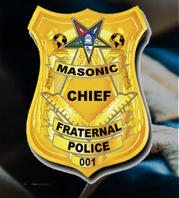 The insignia of the police force features the Masonic compass and square, the Twin Pillars and the logo of the Order of the Eastern Star - an inverted pentagram.