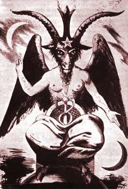 "Eliphas Levi's Baphomet making the ""as above so below"" hand sign."