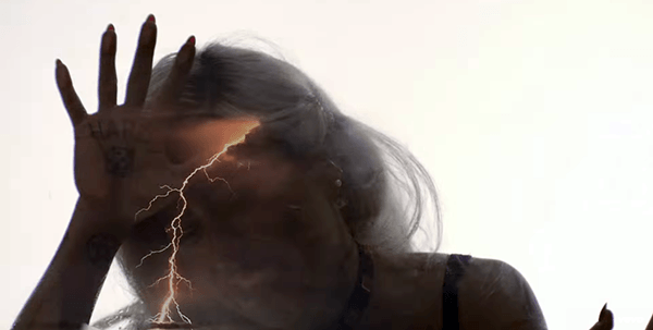 "Thunder going across her head represents electroshock torture. This exact symbol was used in Taylor Swift's video ""Style"", which is also about mind control (see my article about it here)."