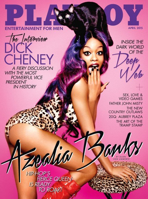Azelia Banks' photoshoot for Playboy magazine is all about Beta Kitten Programming. She is dressed in feline print (representing Kitten programming), the stool is in feline print. And, to make this extra clear, there's a cat on her head.