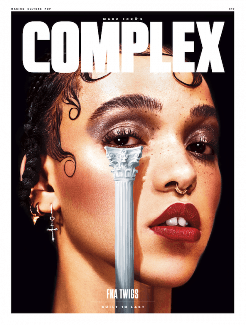 "FKA Twigs on the cover of Complex with a pillar strategically placed under her eye. On the cover is written ""Built to Last"" ... because when you're part of the Agenda, like FKA Twigs already is, you get to stay in the business a little longer."