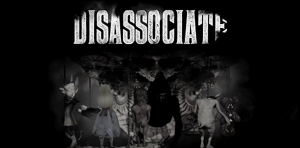"The word ""dissociate"" appears in large letters above a shady handler while Alice in Wonderland twirls around. This could not be more MKULTRA-related."
