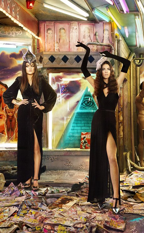 Kylie and Kendall Jenner doing high-fashion poses in front of an Illuminati pyramid - strongly hinting that they're owned by the occult elite's system.