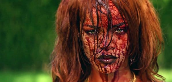 The last image of the video shows Rihanna's extremely bloody face over unsettling music.