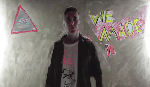 "The All-Seeing Eye inside a triangle with the words ""We Made It"" next to it. Yup, Bieber ""made it"" thanks to them."