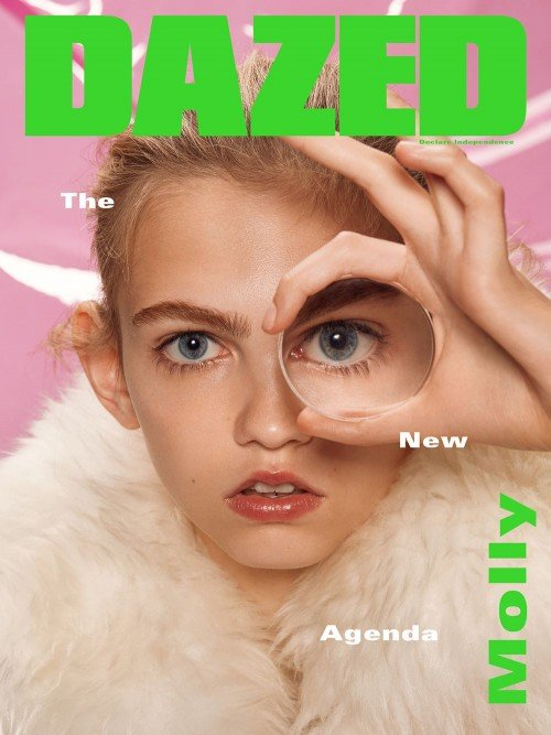 "Molly Blair on the cover of Dazed with the one-eye sign. The words ""The New Agenda"" are a propos here."