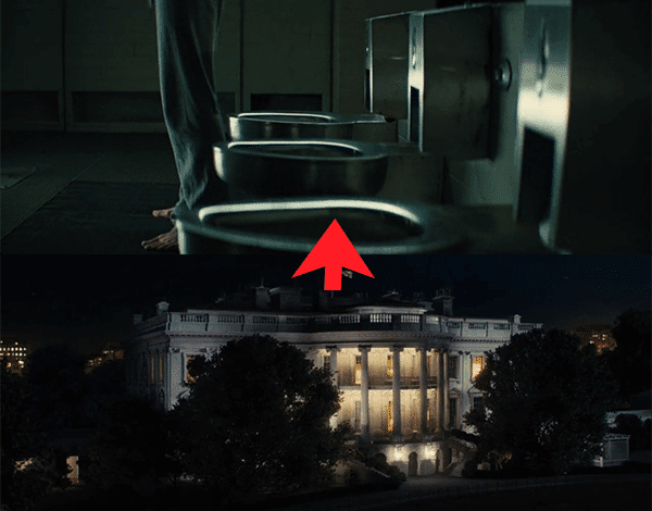 Right after Richmond gives orders to the US President, we see a shot of the White House. Then, the camera pans up to a shot of the toilet bowls at the Kingsman HQ just as someone is about to take a crap. It is a subtle yet strong image describing how the elite literally craps on governments.