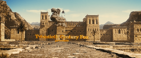 We then see a shot a Middle-Eastern palace being attacked by helicopters. From the rumbles of that palace are formed the letters of the production companies that produced the movie.