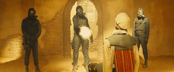 Inside the palace, three Kingsman execute an Arab guy. Why? That's not important, he's Arab.