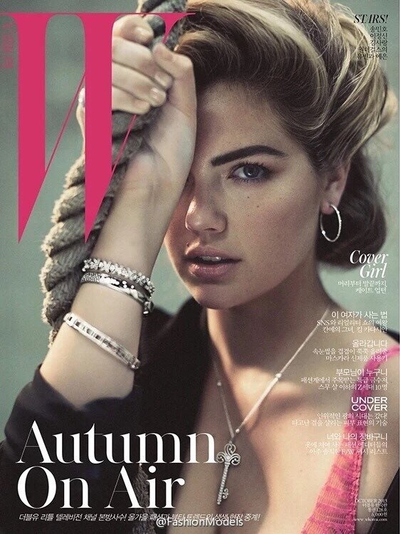 As usual, in the past few weeks, a bunch of stars displayed the one-eye sign all over the world. Here's Kate Upton on the cover of W Korea.