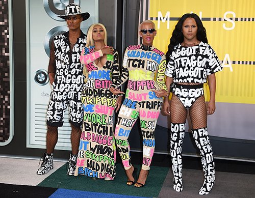 "During the pre-show, Amber Rose and her friends wore clothes with some pejorative terms on them - apparently to ""raise awareness""."