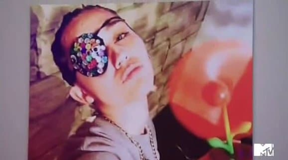 One of the Instagram selfies mentioned as an example in that skit features Miley with one eye hidden.