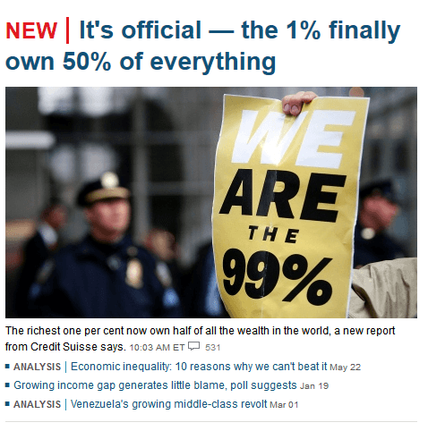 "Speaking of predictive programming in the news, here's a headline from CBC that confirms that the elite is continuously working towards squeezing out the masses from any kind of ressources. With slogans such as ""We are the 99%"", the masses are basically accepting and acknowledging the situation and are confirming their place in the world. In short, it is about legitimizing the social order towards where the world is heading."