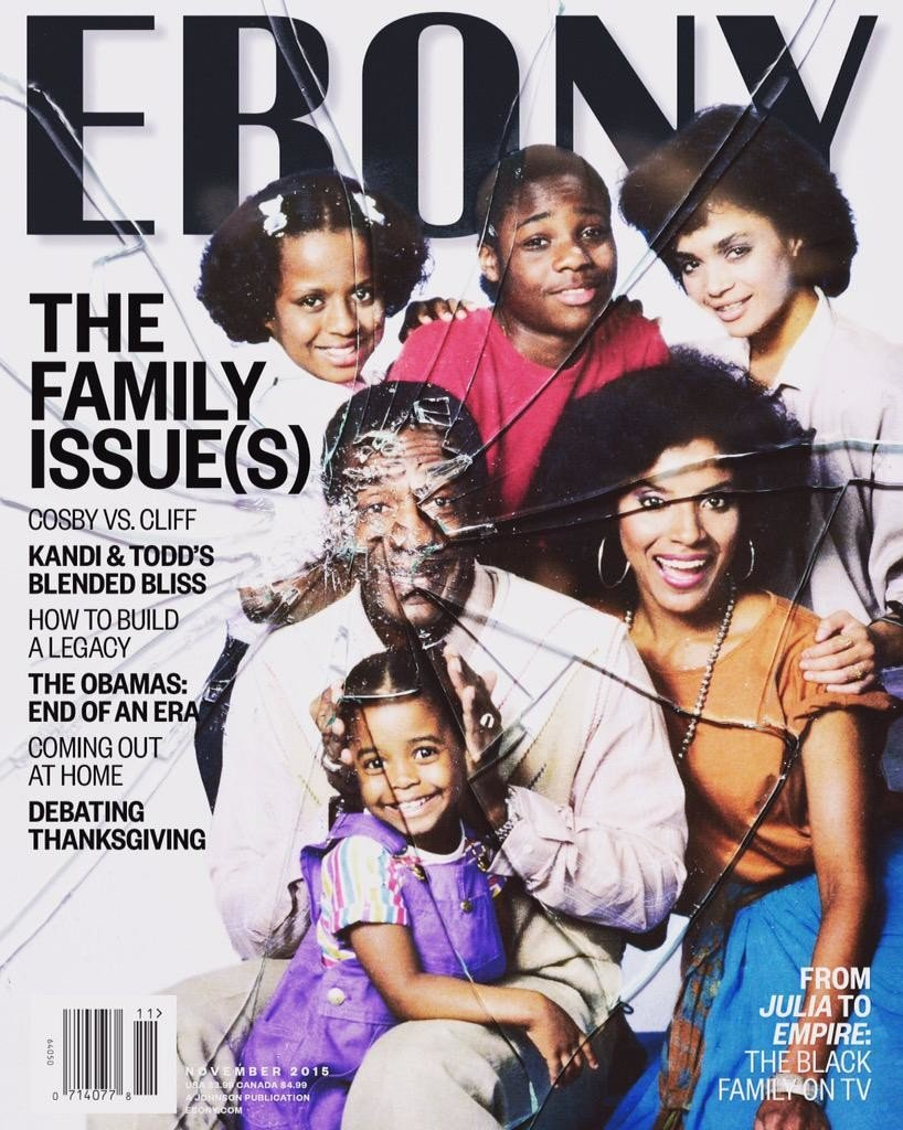 "On this cover of Ebony magazine, there's a hole right on Bill Cosby's eye. Is this a way of saying that the revelation of Cosby's dark side was ""allowed"" by the occult elite? Did he fall from their grace?"