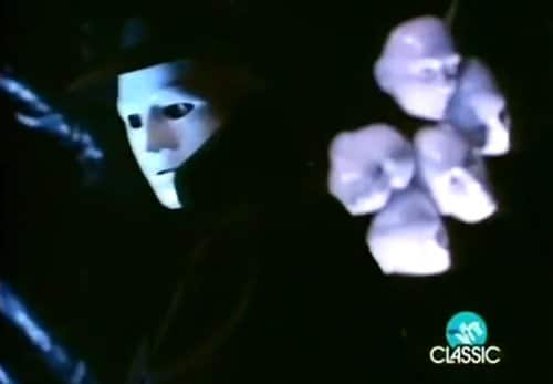 As we see the masked man stalking Laura, we also see a bunch of masks behind him indicating that MK slaves have no face, are interchangeable and are also MK slaves with multiple personas themsevles.