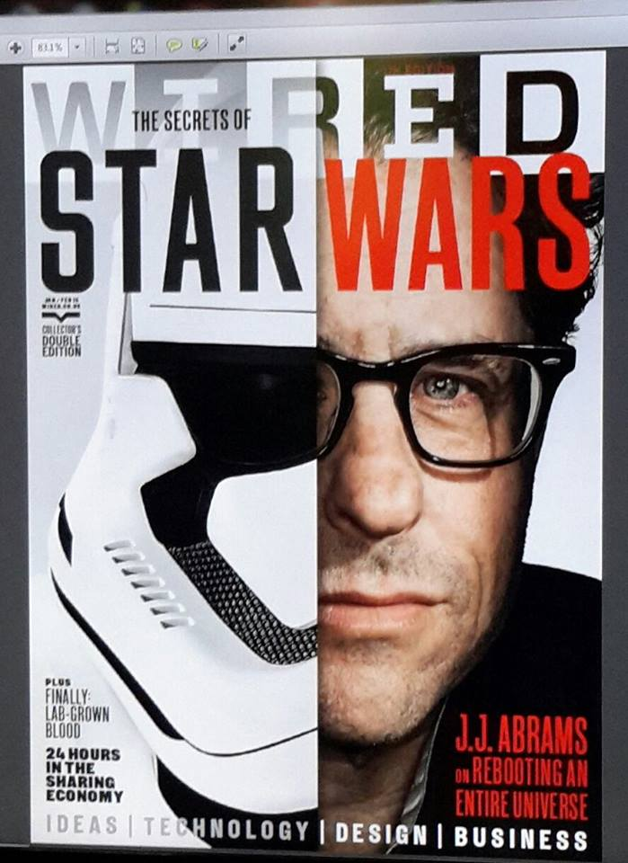 Wired magazine features yet another one-eye sign associated with the new Star Wars.