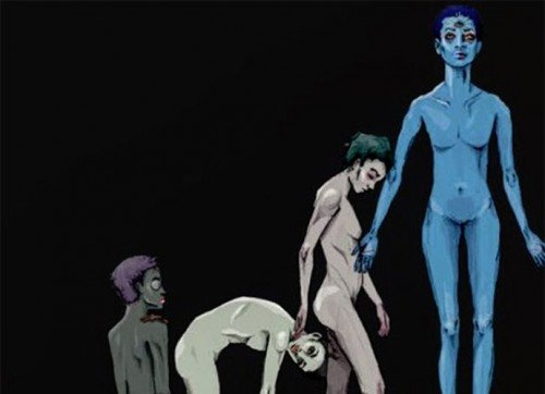 The album cover of Willow Smith's new album Ardipithecus continues in the disturbing trend of oddly sexualizing this minor. While the the album title refers to the genus of an extinct hominine, the cover features a naked alien-like Willow who evolves into an Illuminated being with a third eye open.