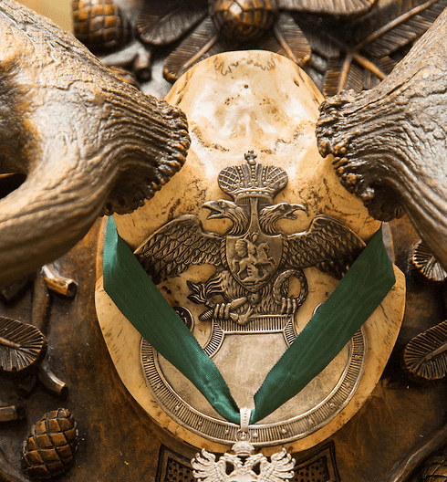 Another skull is adorned with two double-headed eagles - an important symbol in Freemasonry.