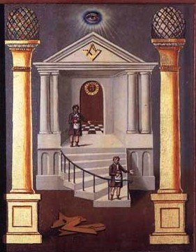 Initiation into Freemasonry is represented by the entering between the twin pillars standing under the All-Seeing Eye.