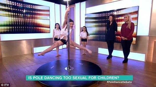"This agenda is not limited to ex-Disney girls. The UK show This Morning featured girls as young as 8 in crop tops performing a pole dancing routine. Why is there even a ""debate"" question at the bottom of that frame? It is as if we're trying to forget that pole dancing is performed by stripper ... in strip clubs ... for money."