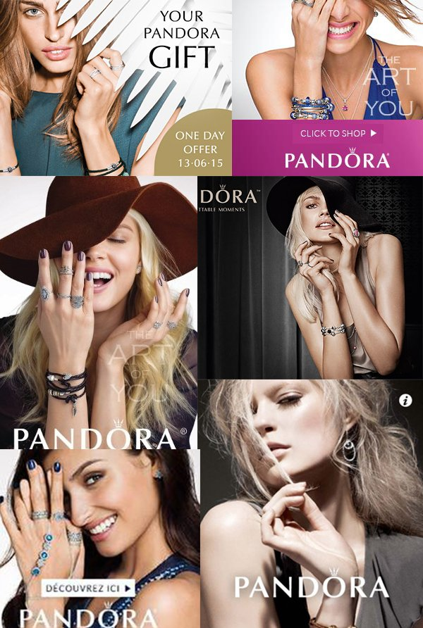 Nearly ever single ad of the brand Pandora features the one-eye sign. Here's a small compilation of ads.