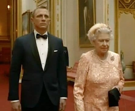 James Bond (played by Daniel Craig) escorting the Queen during the 2012 London Olympics opening ceremony.
