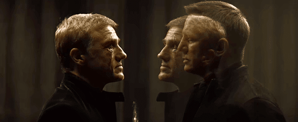 In one scene, Bond faces Blofeld through a glass. Blofeld's reflection of Bond's face is a subtle way of saying: They're on the same team.