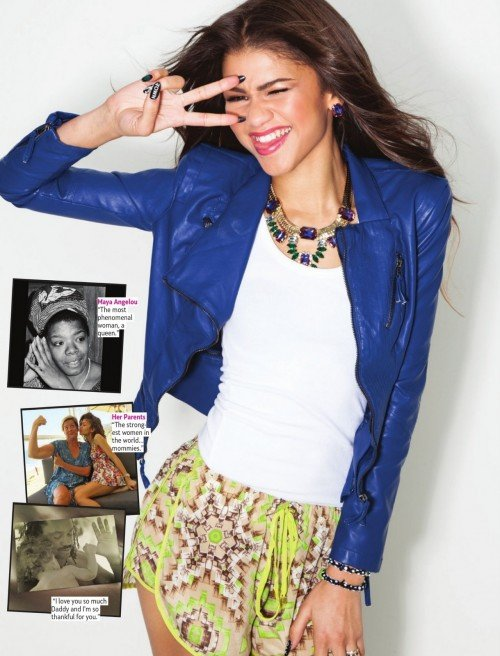 Zendaya needs to bring that one-eye sign to her young fans in Girls Life magazine.