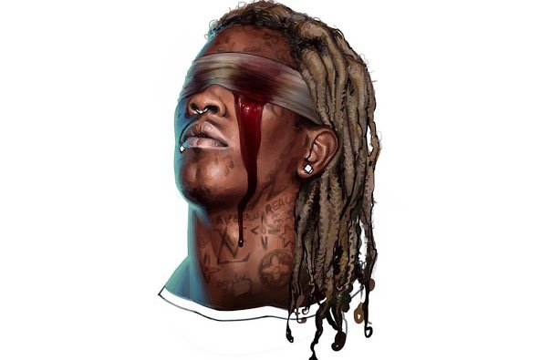 The cover of Young Thug's Slime Season 3 mixtape features him with one eye apparently gouged out. Great way of representing being a pawn of the industry.