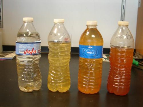 Flint tap water in dated bottles.
