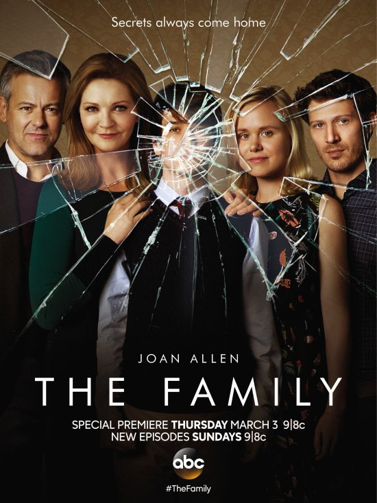 This ad for new TV series The Family features glass strategically cracking around one eye of the main character - a very disturbed and deranged boy.