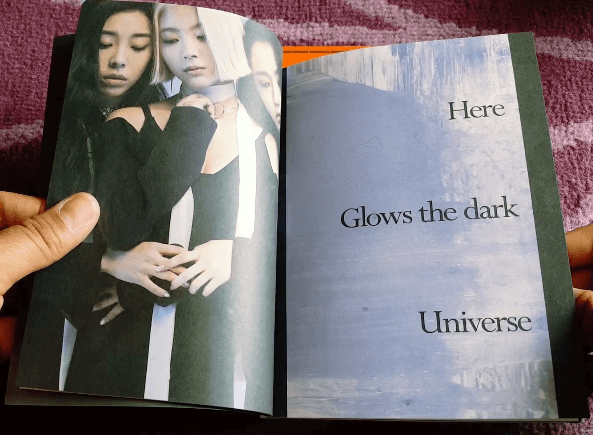 "The CD booklet contains cryptic images and words such as ""Here Glows the Dark Universe"". Is this a reference to the dark, shady world of the occult elite?"