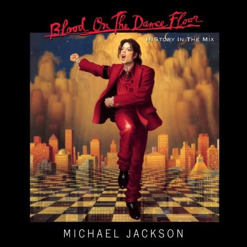 The same exact color codes and symbolism is found on Michael Jackson's album cover Blood on the Floor. From the name of the album, to the strange symbolism, it is all about ritual sacrifice. Note that the black strap on his arm is used to signify mourning.