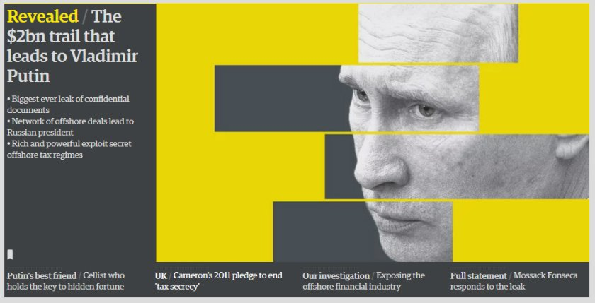 Media coverage from British paper The Guardian focused on Vladimir Putin - although he was not mentioned directly in the Papers. Meanwhile, David Cameron's father is.